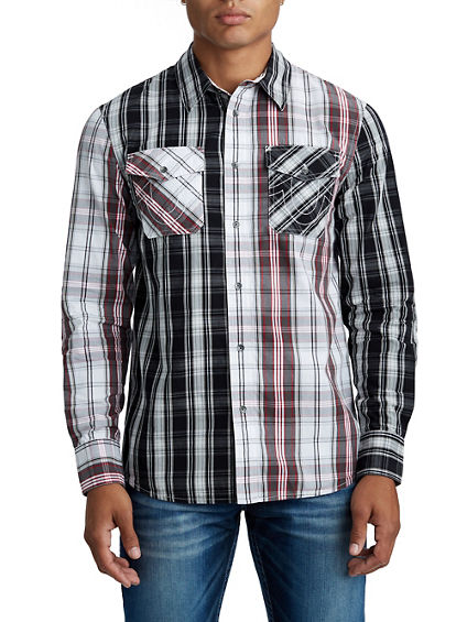 MENS PANEL PLAID BUTTON UP SHIRT