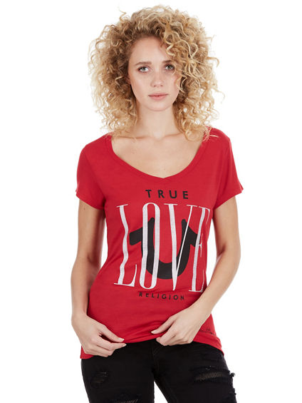 LOVE ROUNDED V NECK WOMENS TEE