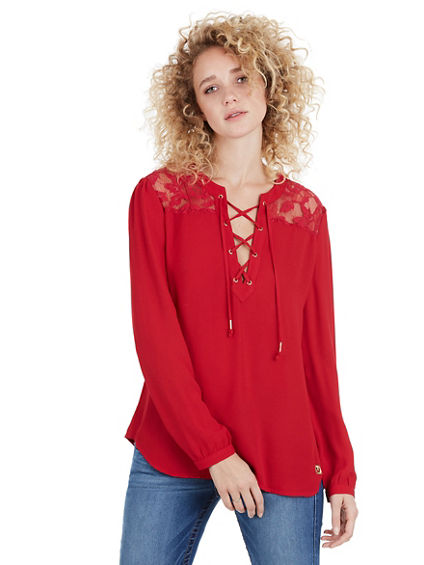 LACE PANEL WOMENS TOP