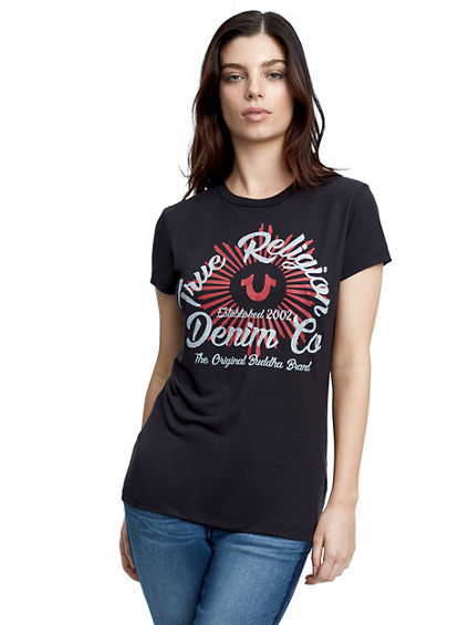 CRYSTAL HORSESHOE RAY CREW WOMENS TEE