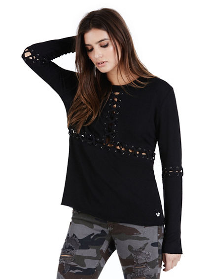 LACE UP PANEL WOMENS TOP