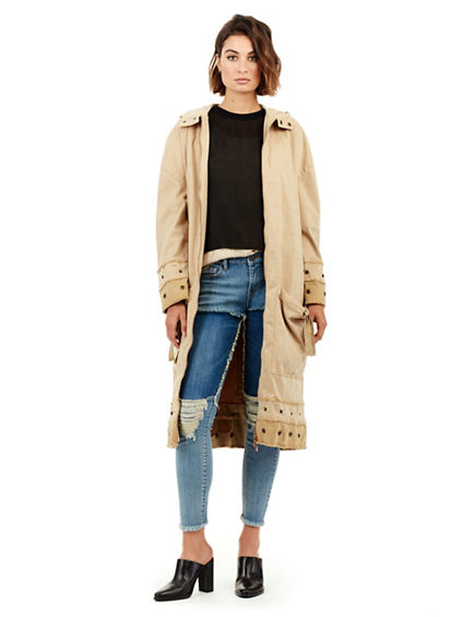 WOMENS SNAP DETAIL TRENCH