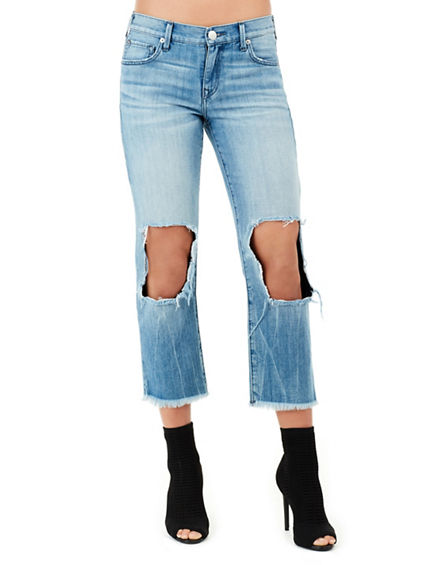 STARR CROP DESTROYED STRAIGHT  WOMENS JEAN