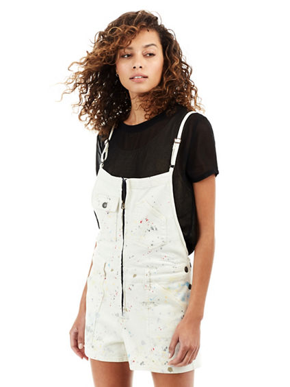 WOMENS PAINT SPLATTER SHORTALL