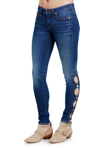 HALLE MID RISE SUPER WOMENS SKINNY JEAN