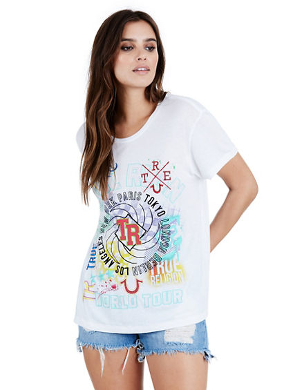 MIXED MEDIA COSMIC WOMENS TEE