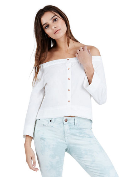 WOMENS OFF SHOULDER BUTTON UP SHIRT