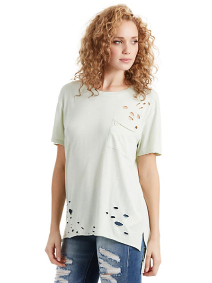 HIGH LOW DISTRESSED WOMENS TEE