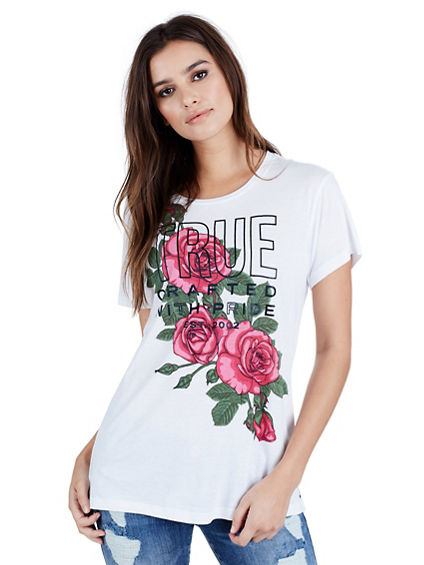 FLOWER SHOULDER CRAFTED W PRIDE WOMENS TEE