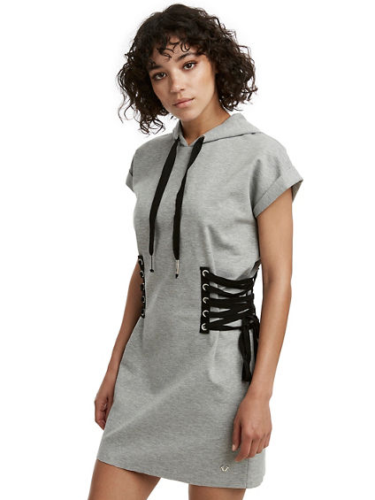 WOMENS HOODED LACE UP DRESS