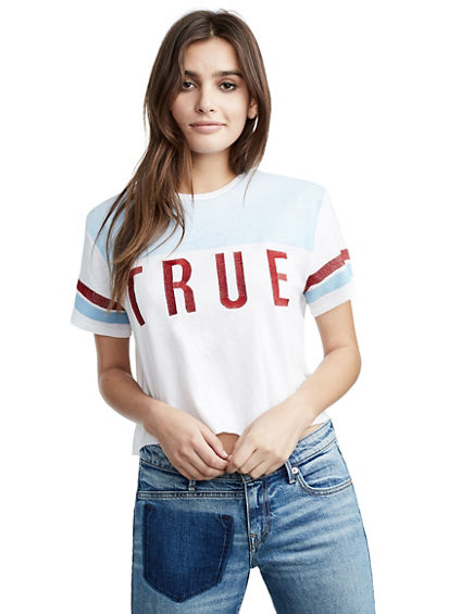 WOMENS EMBROIDERED VARSITY CROP TOP