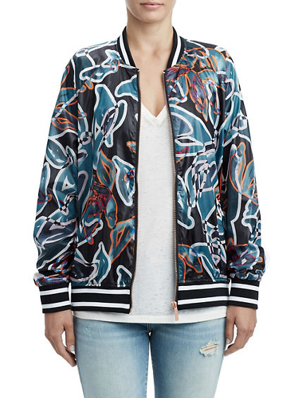 WOMENS TROPIC FLORAL BOMBER JACKET