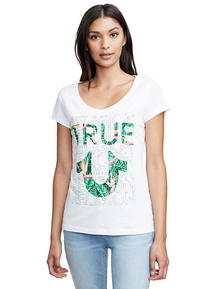 TROPICAL TRUE ROUNDED V NECK TEE