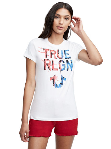 PATRIOTIC PAINTED CREW NECK TEE