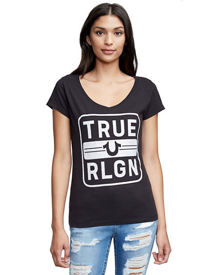 TRUE RELIGION BOX ROUND V NECK TEE