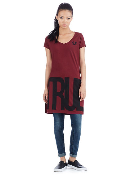 BIG TRUE RLGN ELONGATED SPLIT WOMENS TEE