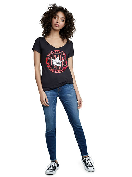 CIRCLE TRUE BUDDHA ROUNDED V NECK TEE
