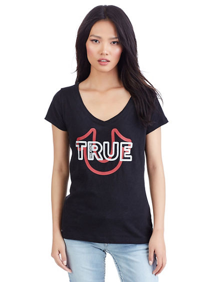 TRUE BOLD CRYSTAL HORSESHOE WOMENS TEE
