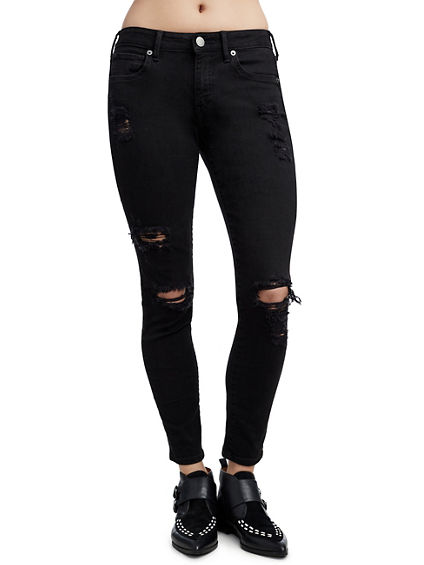 WOMENS DISTRESSED JENNIE CURVY SKINNY JEAN