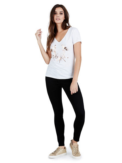 SHATTERED WOMENS V NECK TEE