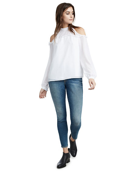 WOMENS COLD SHOULDER RUFFLE TOP