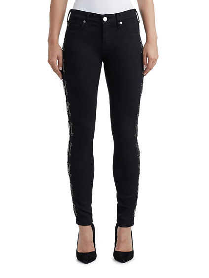 WOMENS CHAIN LACE HALLE SUPER SKINNY JEAN