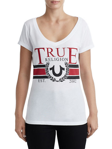 WOMENS CRYSTAL EMBELLISHED LOGO GRAPHIC TEE