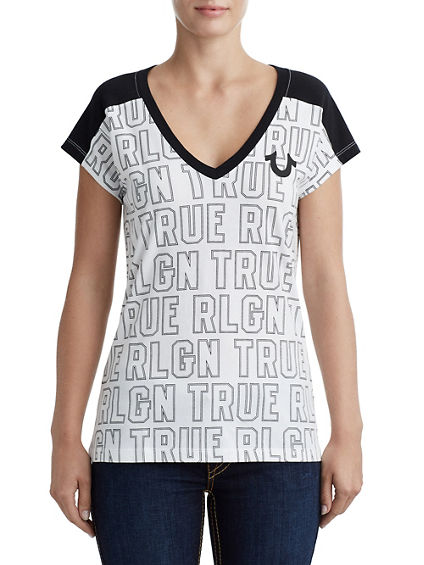 WOMENS PANEL DEEP V NECK GRAPHIC TEE