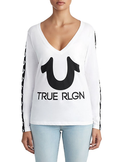 WOMENS HORSESHOE STRIPE LOGO LONG SLEEVE TOP