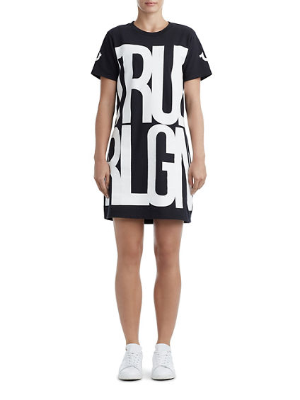 WOMENS STACKED GRAPHIC T-SHIRT DRESS