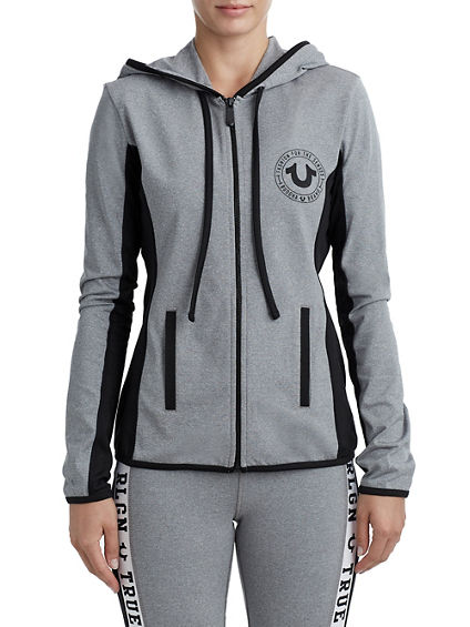 WOMENS ATHLETIC RUNNER ZIP UP HOODIE