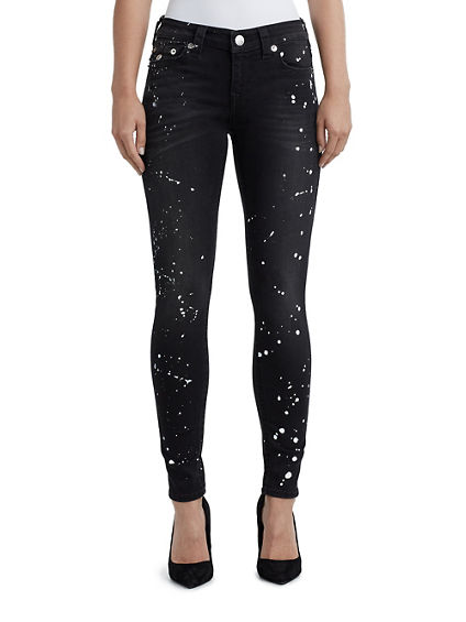 WOMENS PAINT SPLATTER SUPER SKINNY JEAN W/ FLAP