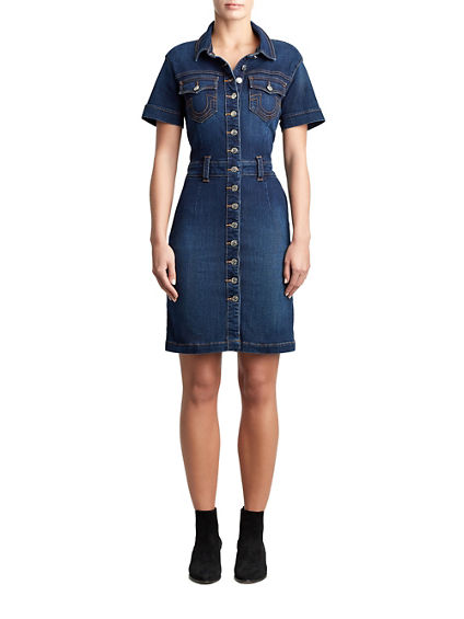 WOMENS SHORT SLEEVE DENIM BODYCON DRESS