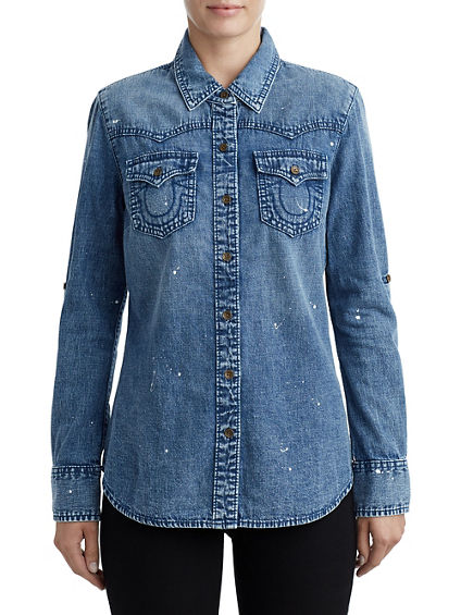 WOMENS PAINT SPLATTER WESTERN DENIM SHIRT