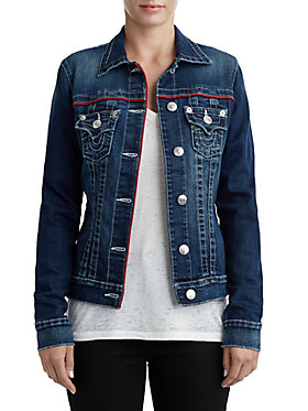 WOMENS PIPED TRUCKER DENIM JACKET