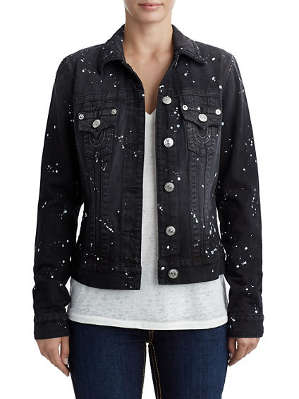 WOMENS PAINT SPLATTER TRUCKER DENIM JACKET