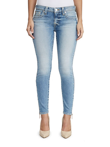 WOMENS FULL ZIP ANKLE SUPER SKINNY JEAN