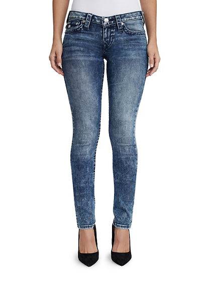 WOMENS ACID WASH SKINNY JEAN W/ FLAP