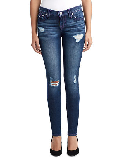 WOMENS DISTRESSED NEON STITCH SKINNY JEAN W/ FLAP