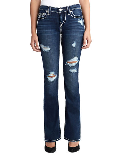 WOMENS DESTROYED BIG T BOOTCUT JEAN W/ FLAP