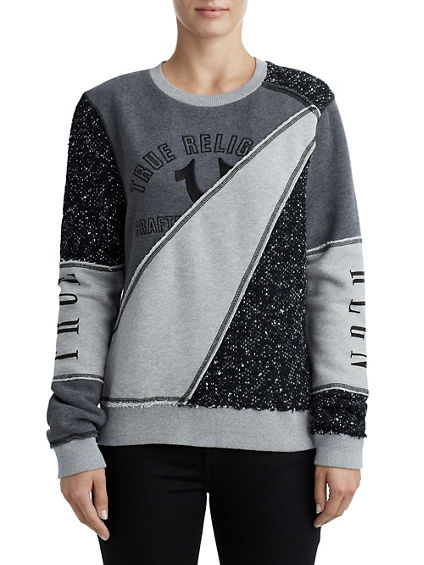 WOMENS CUT AND SEW RAW EDGE PULLOVER