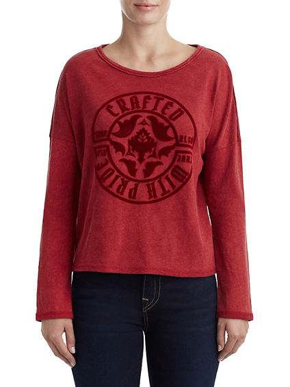 WOMENS FLOCKED LOGO LONG SLEEVE TOP