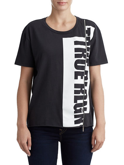 WOMENS SPLIT ZIPPER GRAPHIC TEE