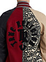WOMENS MIXED LEOPARD VARSITY LETTERMAN JACKET