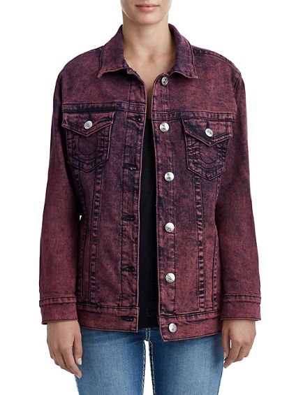 WOMENS MINERAL WASH TRUCKER DENIM JACKET