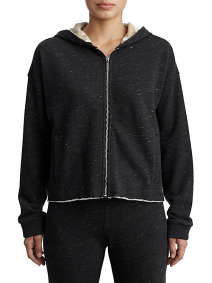 WOMENS HEATHERED TWO TONE ZIP UP HOODIE