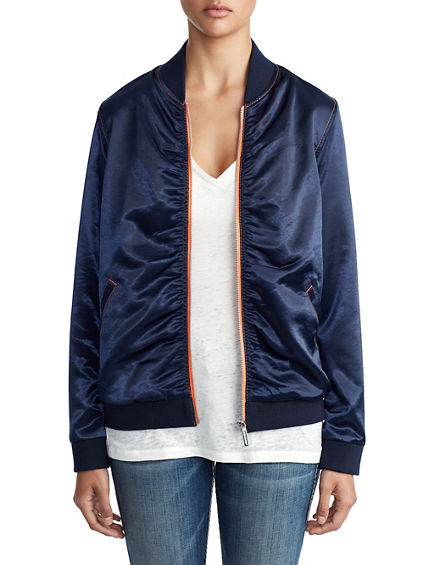 WOMENS MOTO GIRL SATIN BOMBER JACKET