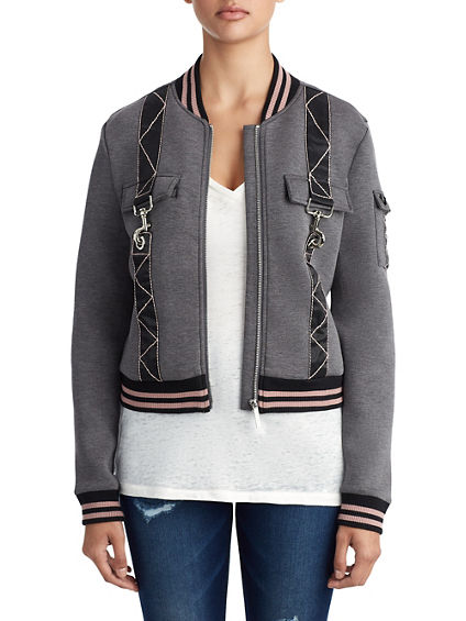 WOMENS UTILITY CLIP BOMBER JACKET