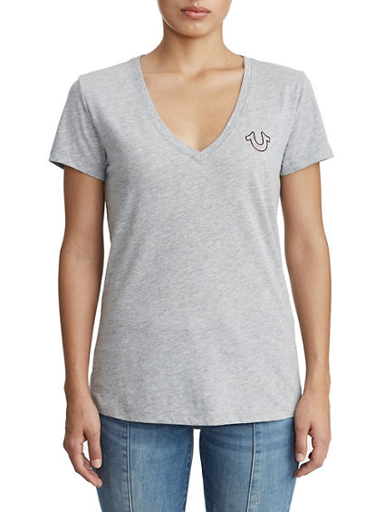 WOMENS HORSESHOE LOGO V NECK TEE