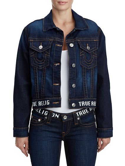 LOGO CROPPED BOYFRIEND TRUCKER JACKET